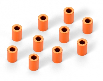 Spacers Aluminium 3x6x9mm Orange (10) i gruppen Fabrikat / X / XRAY / Skruv, Mutter, Bricka hos Minicars Hobby Distribution AB (47303130-O)