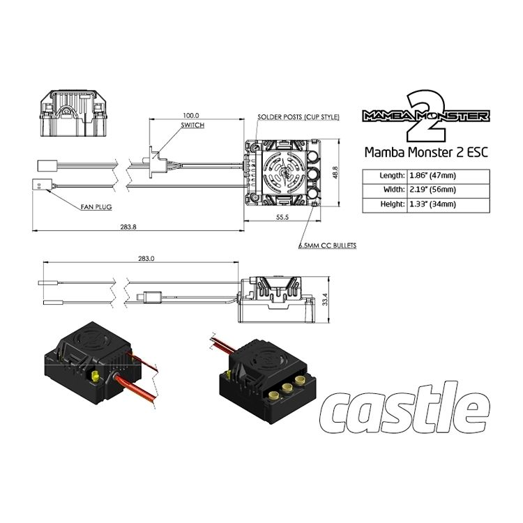 mamba monster 2 1 8 25v extreme car esc wp rh minicars se mamba monster 2 wiring diagram Castle Creations