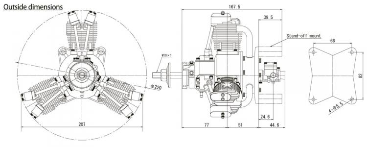 Fg 60r3 60cc 4 Stroke 3 Cyl Radial Gasoline Engine