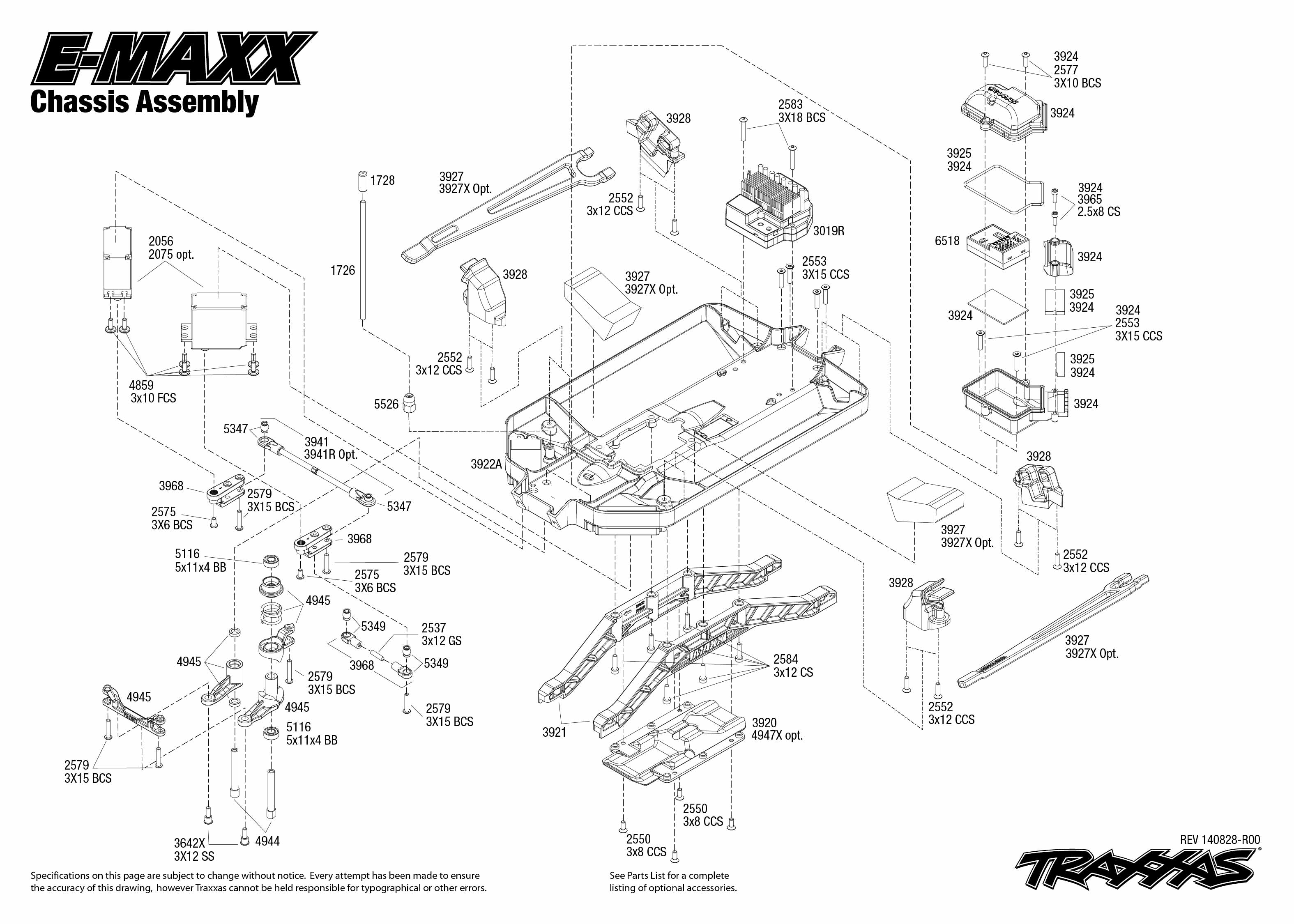 TRX39036 4_Exploded_Views_Chassis_Assembly e maxx 4wd tqi w o battery & charger [trx39036 4] 555,00eur traxxas evx 2 wiring diagram at bayanpartner.co
